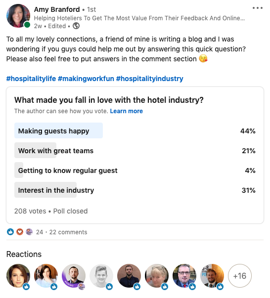 LinkedIn-poll-love-hospitality