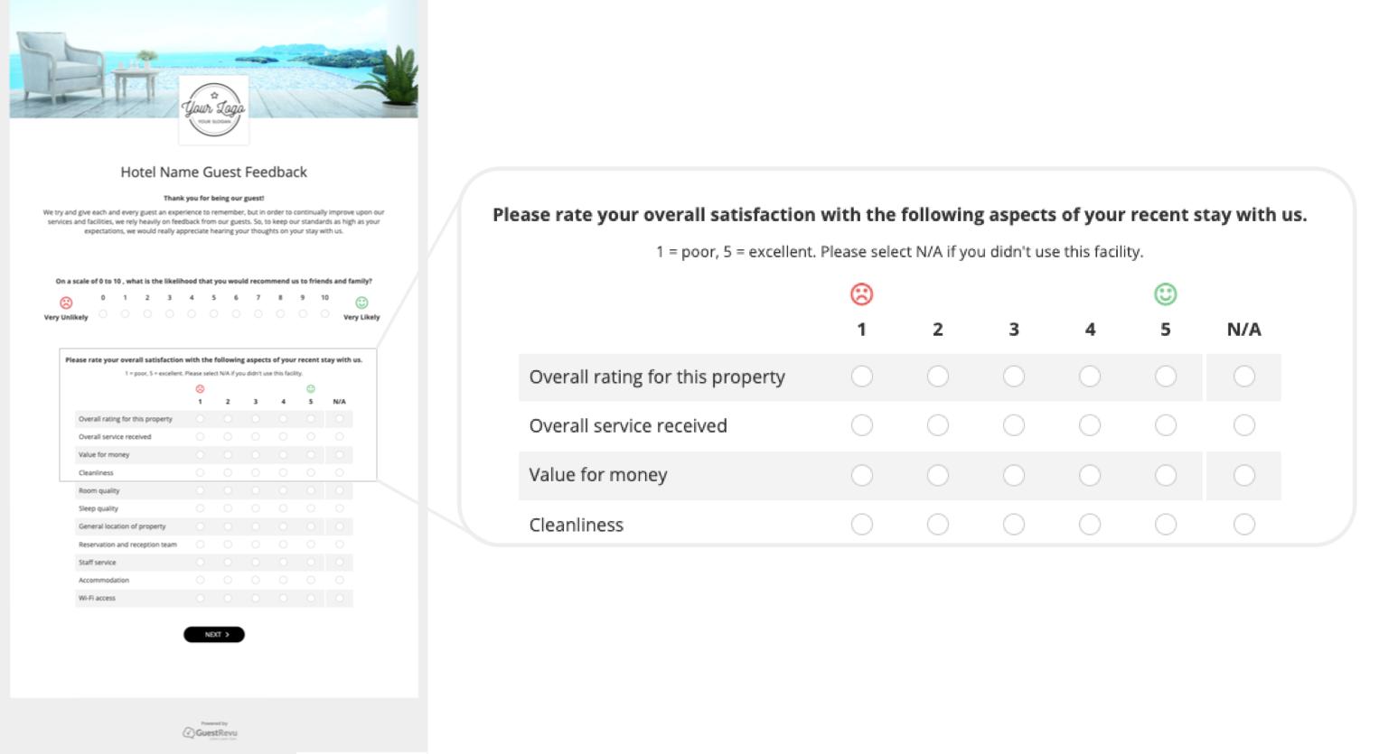 hotel-questionnaire-survey-guestrevu-five-point-rating
